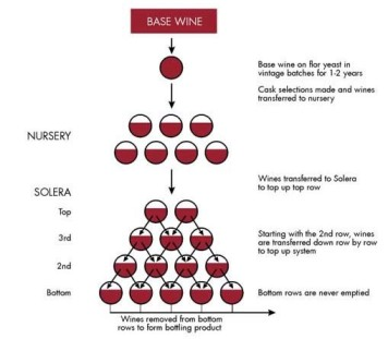 Solera System - diagram from barrelsecrets.wordpress.com. Old mixes with new to produce consistent wine.